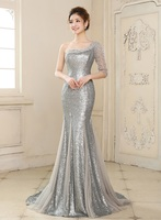 2019 Vestidos Mermaid One Shoulder Sequins Beading Party Gowns Silver Long Prom Formal Dresses Evening Dress With Warp Customed
