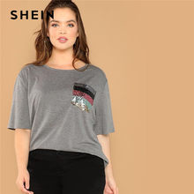 b3625f2eb85 SHEIN Plus Size Striped Sequin Pocket Patched O Neck Half Sleeve Casual  Gray T Shirt Summer