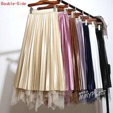 Плиссированная атласная длинная юбка с асимметричным подолом из фатина, в стиле пэчворк, двухсторонняя сетчатая плиссированная длинная юбка трапеция, весна осень 2019