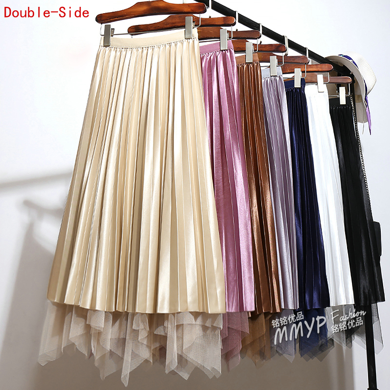 2019 Spring Autumn Irregular Tulle Patchwork Pleated Satin Long Skirt Double-side Wear Mesh Pleuche High Low A-line Long Skirts