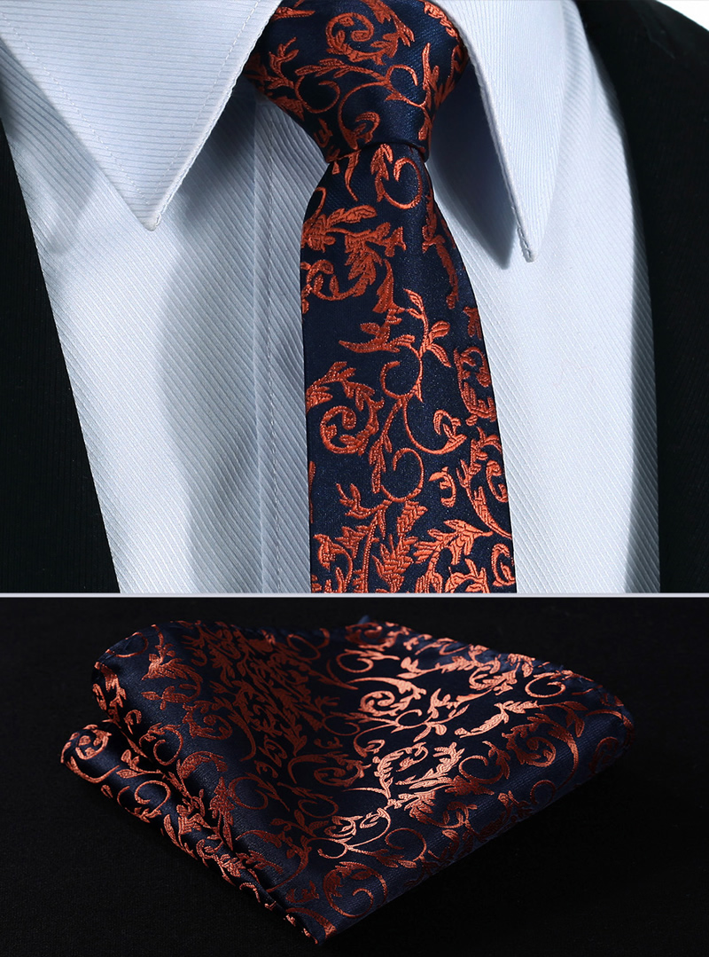 "TF2014N7 Navy Blue Orange Paisley 2.75"" 100%Silk Jacquard ..."