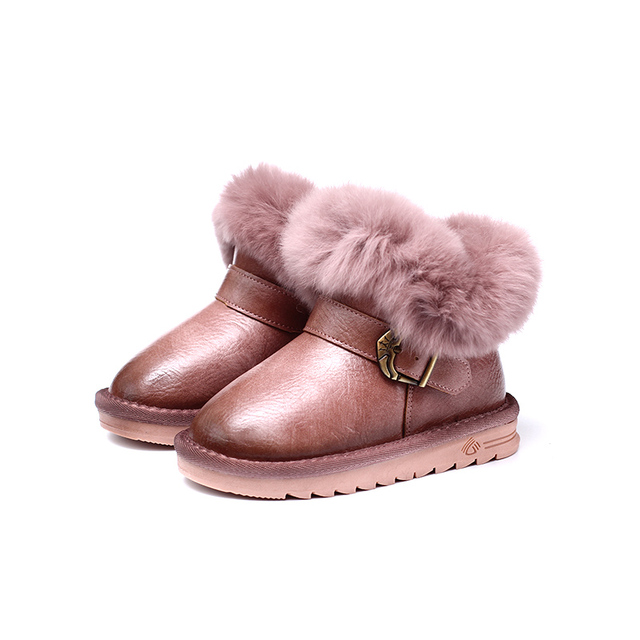 2018 new Children's winter short boots girls school shoes boys anti slip Keep warm Rabbit's hair Snow boots 4-16 years old Girl's Shoes