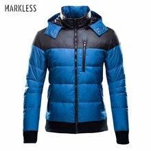 Markless, модные мужские лоскутные пуховики, мужские зимние пальто с капюшоном, мужские повседневные пуховики, мужская верхняя одежда, парки