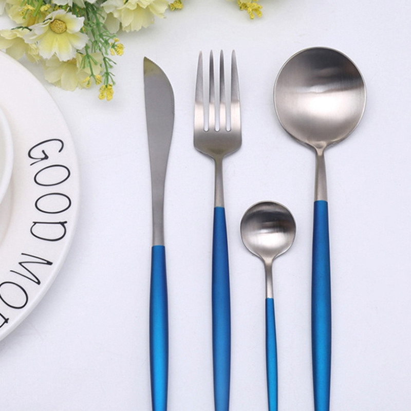 NEW Luxury Western Stainless Steel Cutlery Sets 1lot/4pcs Knives Forks Teaspoons Dinnerware Set Service 5 colors