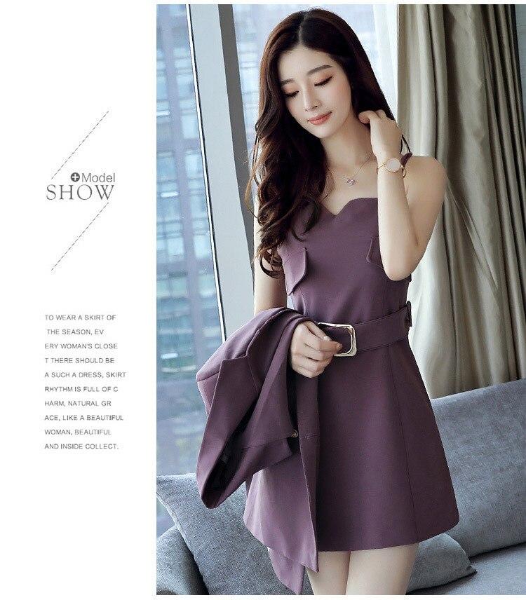 Autumn Business Suit Elegant Office Dress Lady Work 2 Pieces Set Long Sleeve Blazer and Sleeveless Dress Suit Set 24