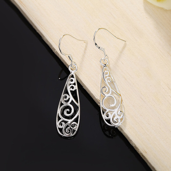 Christmas gift hot silver color Retro charms women Lady flower stud , earring jewelry best gift lowest price LE018 2