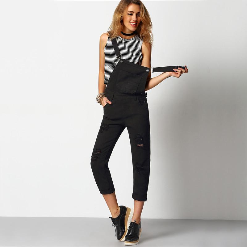 Shein kobiety kombinezon denim kombinezony 2016 wiosna jesień czarny pasek kieszenie pełna długość denim jeans ripped kombinezon 6