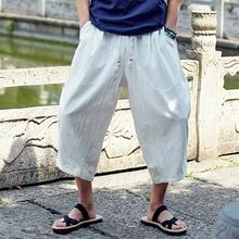 Мужские хлопковые льняные укороченные брюки, летние мужские повседневные широкие шаровары с поясом, прямые брюки до середины икры