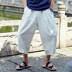 Man Cotton Linen Cropped Summer Male Casual Trousers