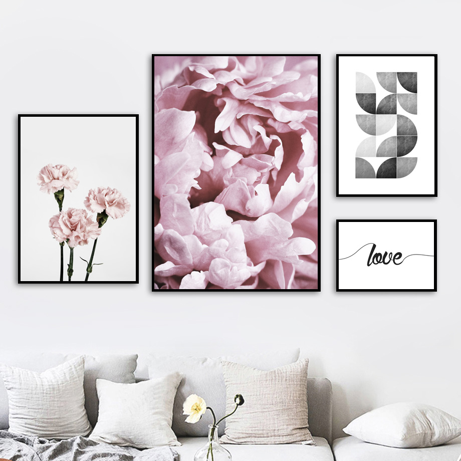 Wall Art Canvas Painting Pink Flower Geometry Quotes Nordic Posters