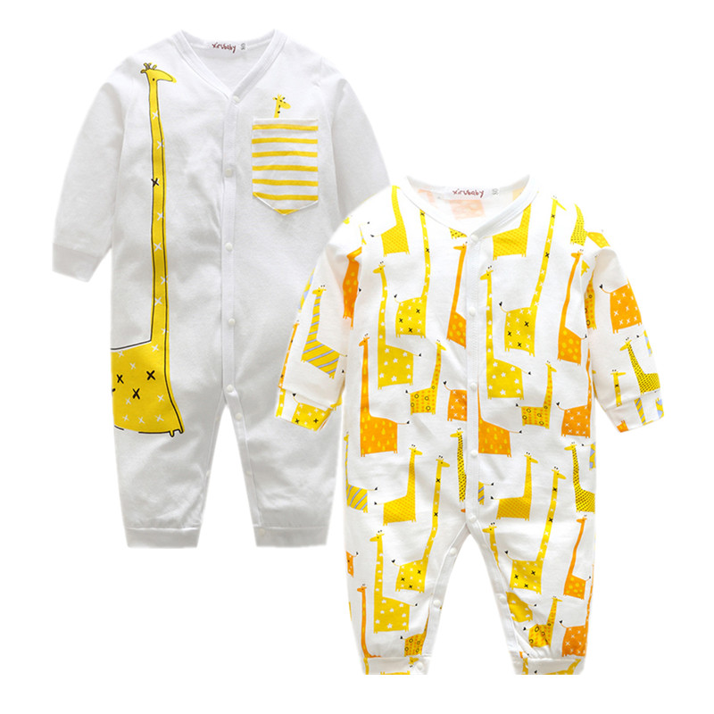 Baby Clothing 2017 Newborn printing giraffe Baby Boy Girl Romper Clothes Long Sleeve Infant Product newborn baby clothes winter long sleeves with feet baby boy girl clothes babies overalls ropa de bebe infant product baby romper