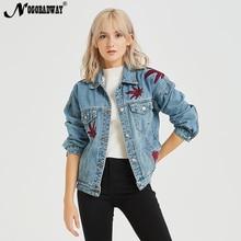 a3ea6ca931 Bordados Mulheres Denim Jaqueta Jeans Casaco de Outono Inverno Moda Casual  Do Vintage Senhoras Outwear 2018 bts Azul Fêmea Solta.