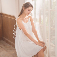 Summer Sleep Lounge Long White Cotton Nightgown Vintage Home Dress Sleeveless O neck Princess Sleep Dress Sleepwear