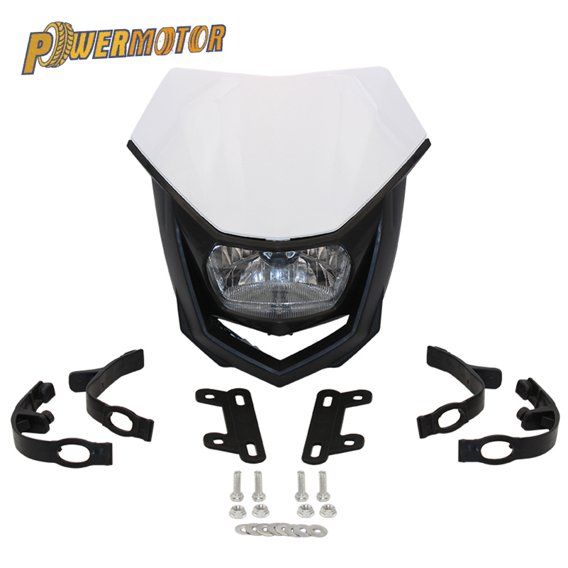 PowerMotor H4 35W Headlight Fairing White Off Road Motorcycle Headlight Enduro Headlamp Streetfighter For Yamaha YZ YZF WR WRF