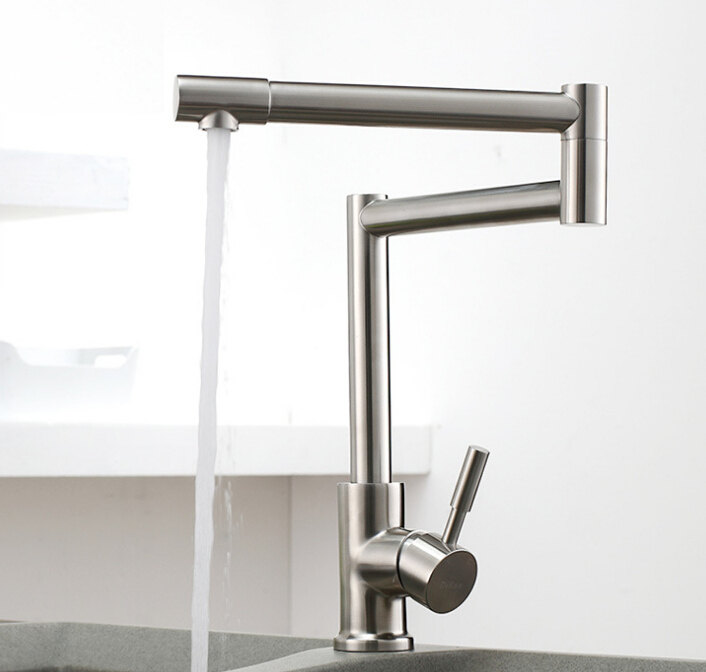 SUS 304 Stainless lead free brushed Kitchen Faucet,Deck Mounted Kitchen Mixer Tap,torneira de cozinha 300 everso brushed kitchen faucet put out brass sink mixer tap kitchen tap spray head deck mounted 360 swivel torneira de cozinha