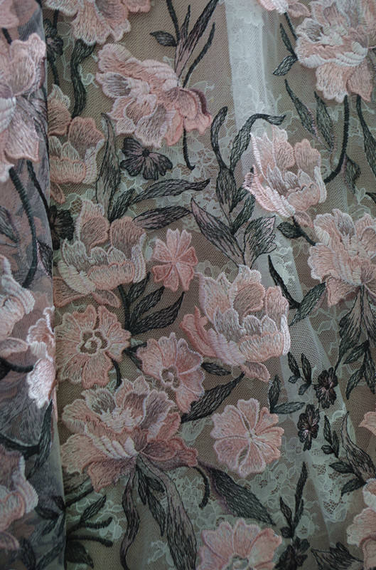 Exquisite pastel floral embroidery soft mesh sequin lace