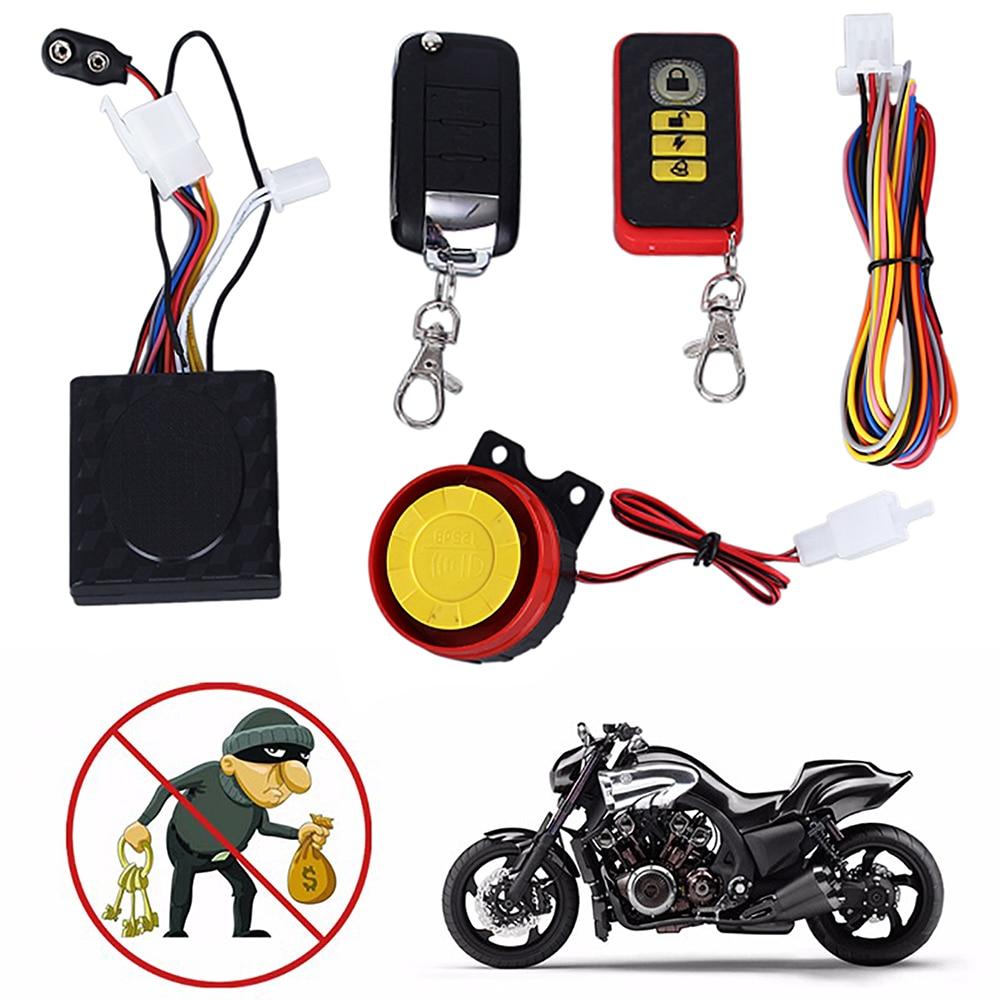 Universal Motorcycle Alarm Security Kit Remote Control Alarm System Anti-Hijacking Cutting Off 125dB Alarm Speaker Remote System
