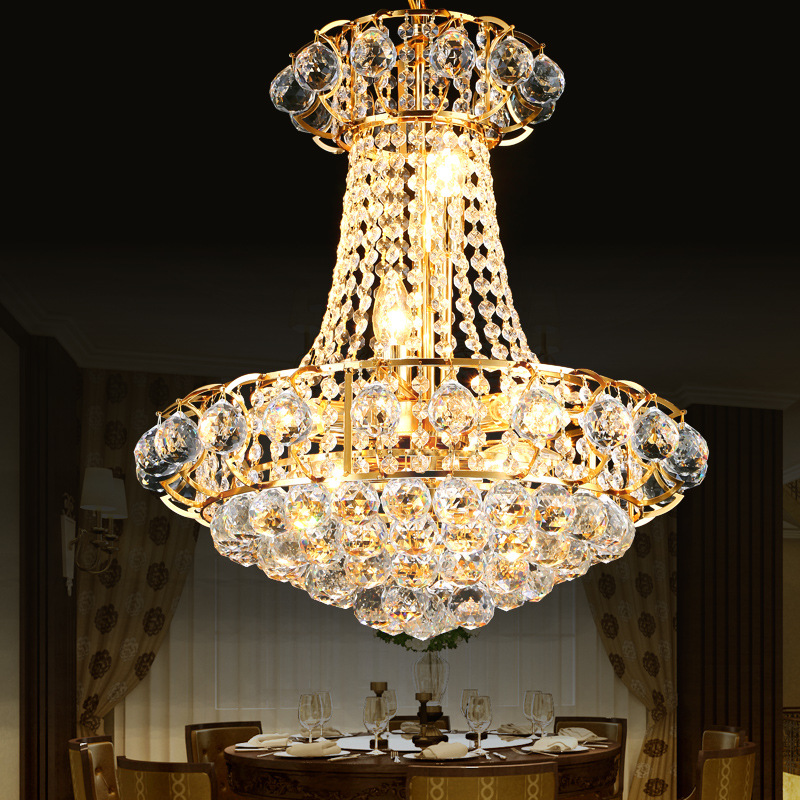 Royal empire golden crystal chandelier light french crystal ceiling luxury gold crystal chandelier lighting dining room ceiling hanging lamps home lighting fixture lustre led lustres aloadofball Choice Image
