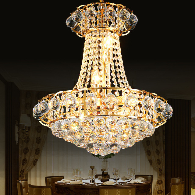 Luxury gold crystal chandelier lighting dining room ceiling luxury gold crystal chandelier lighting dining room ceiling hanging lamps home lighting fixture lustre led lustres aloadofball Gallery