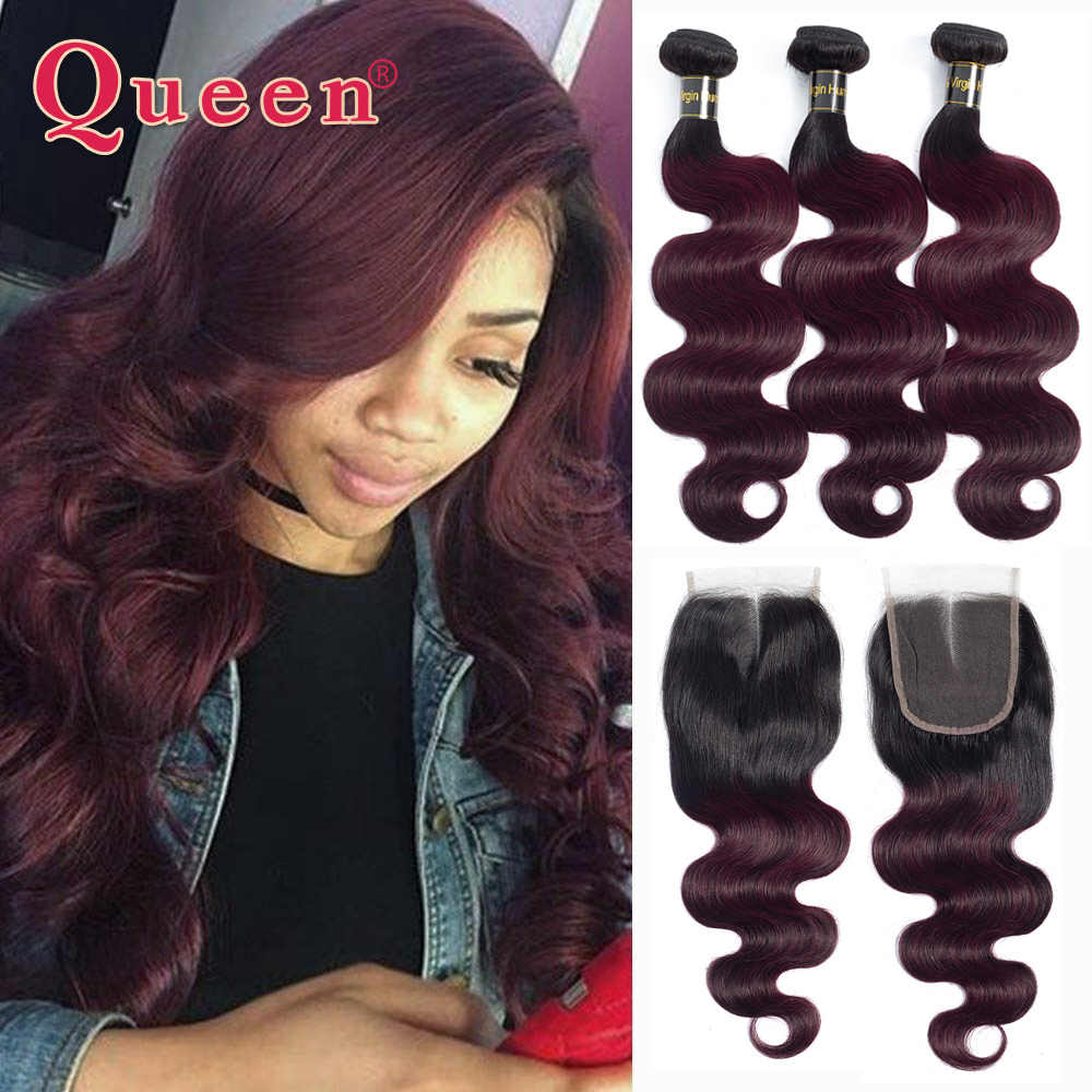 Queen Hair Products Brazilian Bundles With Closure Remy hair B/99J Two Tone Ombre Human Hair Body Weave 3/4 Bundles With Closure