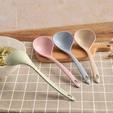 1 шт. пшеничная соломенная ложка для риса, 4 цвета, длинная ручка, ложка для супа, ложка для еды, столовые ложки, посуда, кухонные приспособления для готовки, инструмент