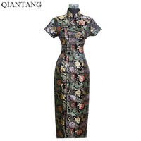 Special Offer Black Chinese Women Satin Long Cheongsam Vestido Mujer Female Traditional Qipao Dress Size S