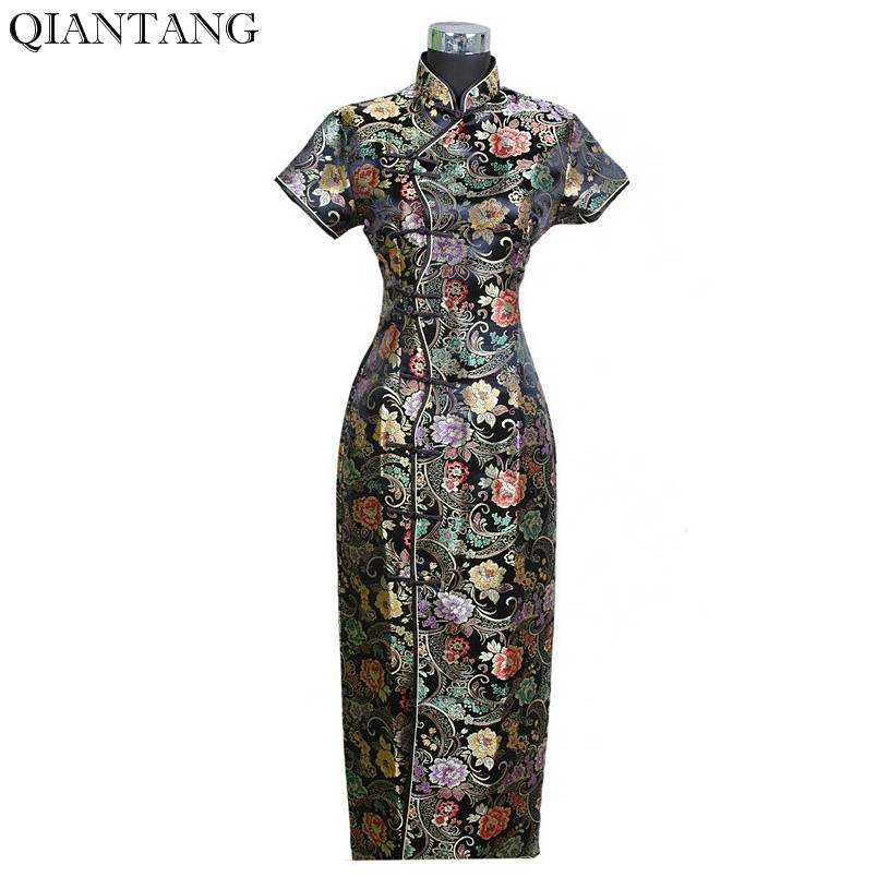 Offre spéciale Noir Chinois Femmes Satin Longue Cheongsam Robe mujer  Femelle traditionnelle Qipao Robe Taille S M L XL XXL XXXL J0024 f865f062f99