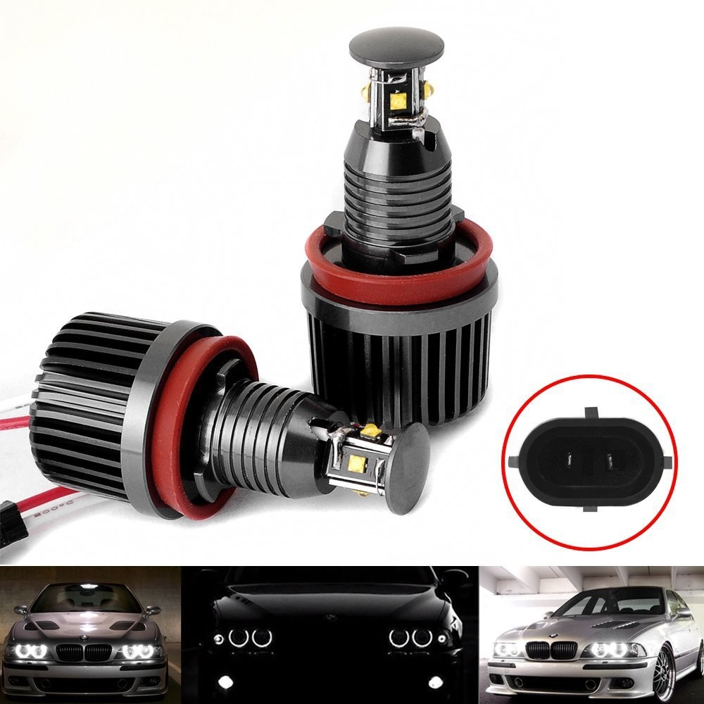 No Bulb-Out Warning Message 40W H8 LED Angel Eyes Halo Ring Marker Light Bulbs Xenon White 6K For BMW E60 E90 E92 E70 X5 X6