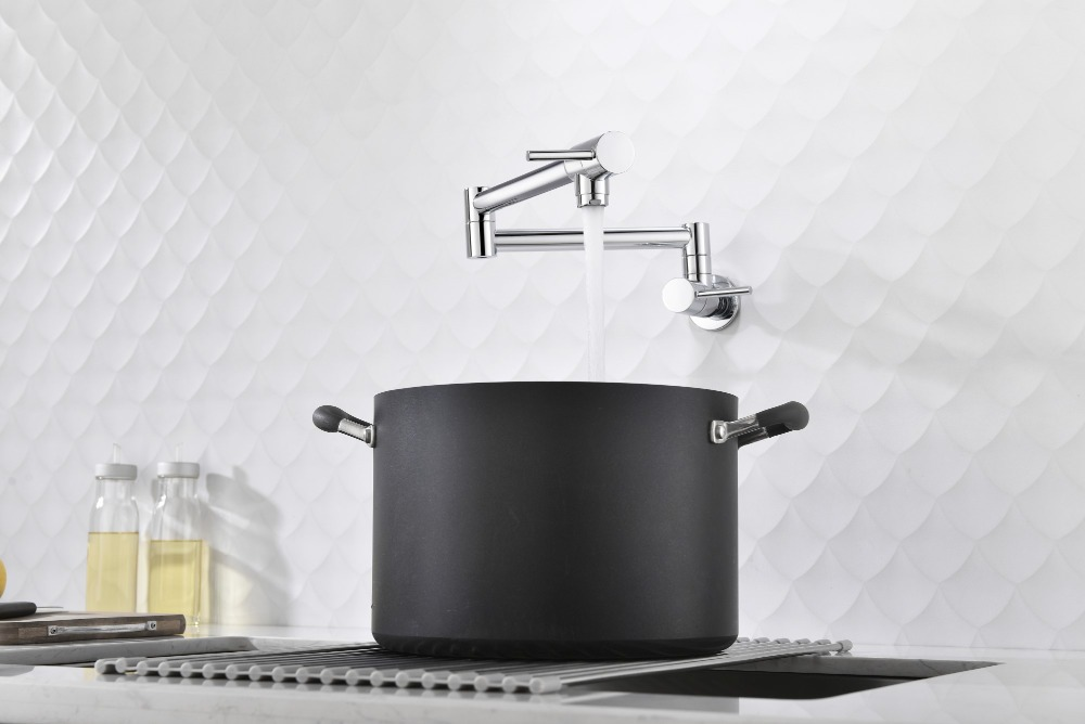 US $156.12 34% OFF|Chrome Brass Kitchen Sink Faucet Pot Filler Folding  Stretchable Double Joint Swing Arm Wall Mount Kitchen Faucet-in Kitchen  Faucets ...