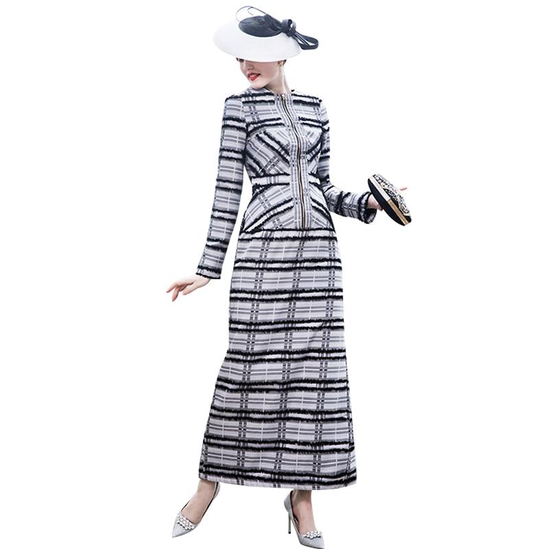 DF Tendance Robe Qualité Automne Hiver Robe Longue Fermeture Éclair Rayé de Split Soirée Slim Robe Crayon Partie Robes 9044