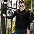 OSCN7 Black Round Neck Fancy Print Sweaters for Men 2017 New Fashion Spring Plus Size Pull Homme Slim Fit Leisure Sweaters