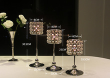 Luxury Crystal Silver Wedding Ceremony Decorative Candle Holder Home Party Bar  Room Romantic Decor