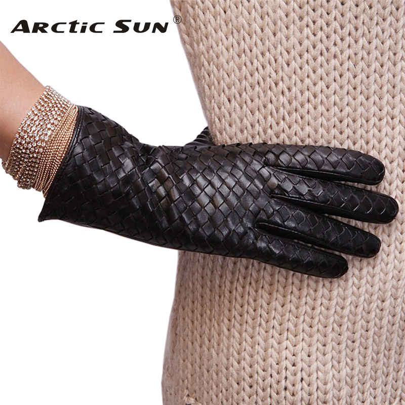L118NN New style women Genuine leather gloves fashion weaving suede winter for warm sheepskin
