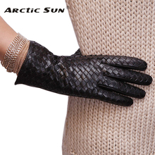 L118NN New style women Genuine leather gloves fashion weaving suede winter for warm sheepskin