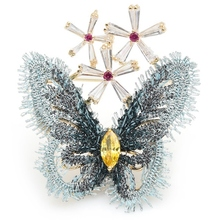 Palace Style Blue Lace Cloth Butterfly Brooches Crystal Insect Brooch Pins New Year'S Gifts crystal palace arsenal
