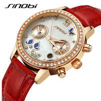 SINOBI New Fashion Butterfly Women Watches Leather Strap Rose Gold Ladies Wristwatch Diamond Luxury Analog Quartz Clock