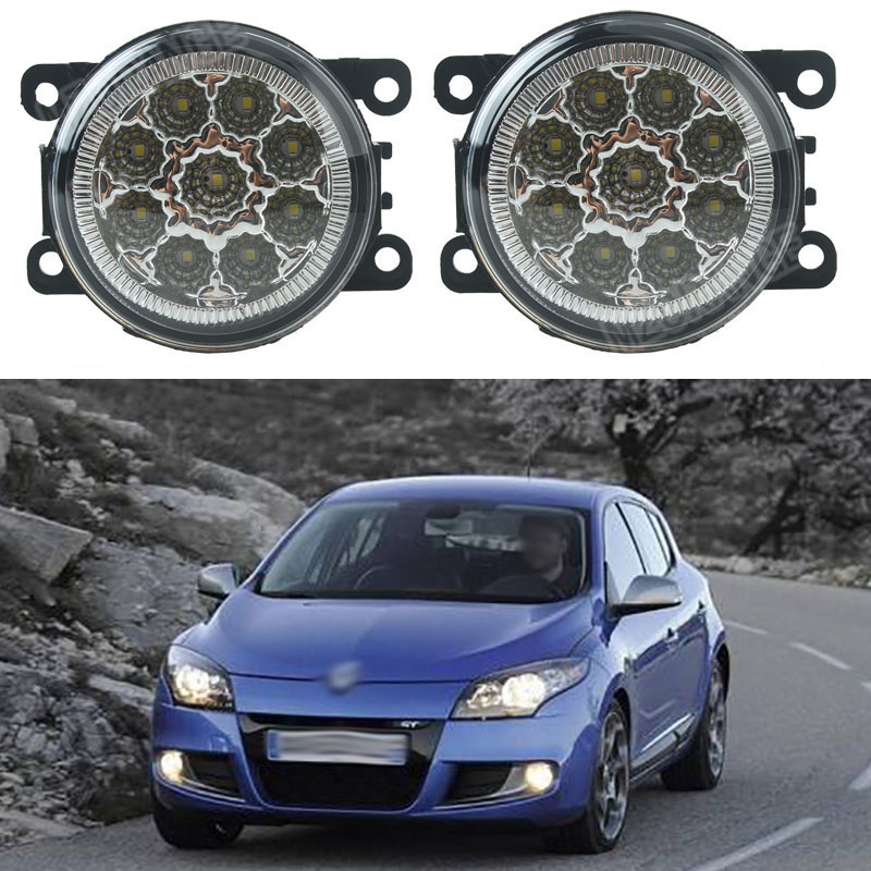 Car styling For Renault MEGANE 2 Saloon LM0 LM1 2003-2015 DUSTER 2012-2015 Front Bumper LED Fog Lights High Brightness Fog Lamps led front fog lights for renault koleos hy 2008 2013 2014 2015 car styling bumper high brightness drl driving fog lamps 1set