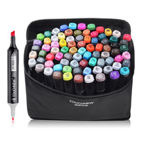 TOUCHNEW 80 Color Set Marker Pen Twin Tips Sketch Alcohol based Art Markers Common Design Black Body + Carry Bag