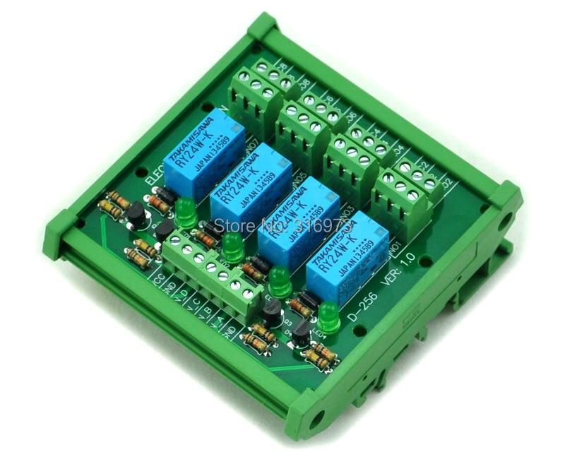 ̿̿̿(•̪ )DIN Rail Mount 4 DPDT Signal Relay Interface Module, DC24V ...