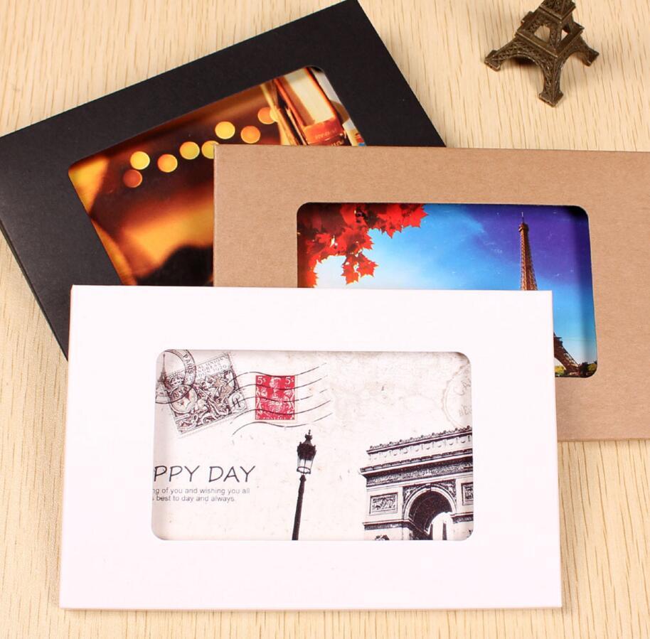 Online Shop Qi 1000pcs 1551025mm Kraft Paper Postcard Box Foldable
