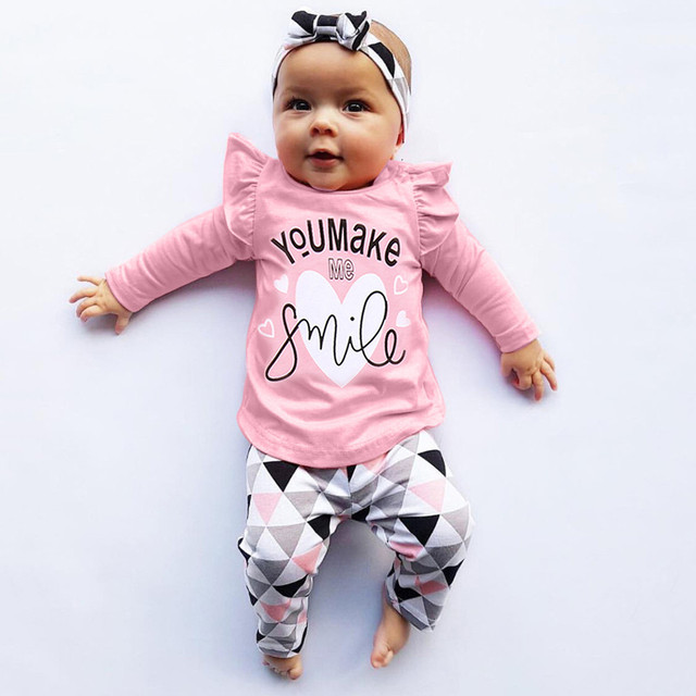 112b0f053 MUQGEW For Newborn Clothes Toddler Infant Baby Girls Boys Clothes Letter Print  Tops Geometric Pants Outfits