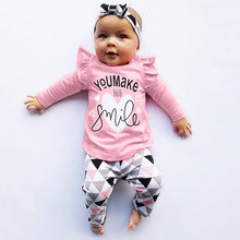 df4ef2f10b40a (Ship from US) MUQGEW New Arrival baby boys girls clothes Letter Print Tops  Geometric Pants Outfits Set vetement enfant fille baby clothes set