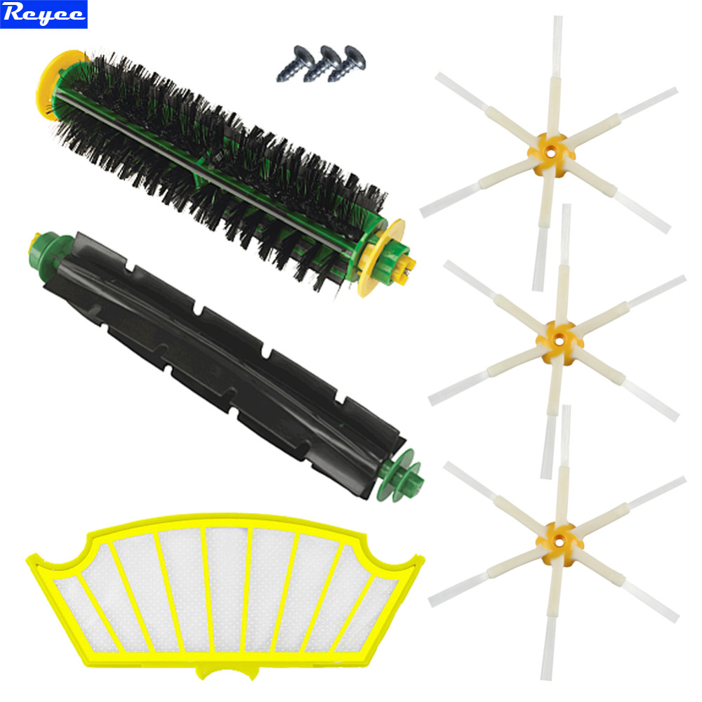 Bristle and Flexible Beater Brush + SideBrush + Filter for iRobot Roomba 500 Series Vacuum Cleaner 520 530 540 550 560 Filter 1 piece robot hepa filter replacement for irobot roomba 500 series 520 530 540 550 560 vacuum cleaner parts