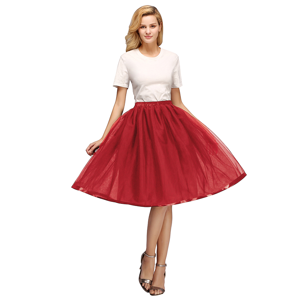 Купить с кэшбэком Tulle Short Petticoat Hoopless Wedding Crinoline Layers Woman Skirt Underskirt Woamn Adult Tutu Rockabilly Bridal Accessories
