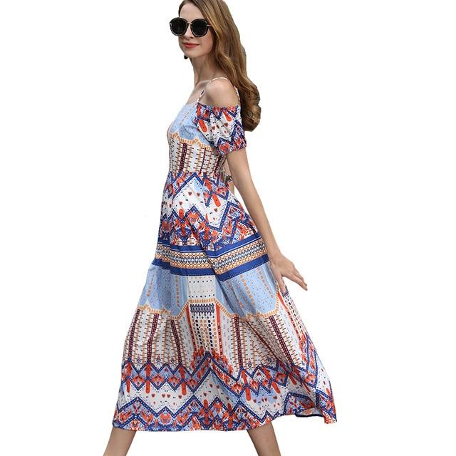 8f5768ce9340 Estate 2017 Stile Coreano Vestito Dalla Spiaggia Donna Disegno Geometrico  Tunique Floreale Elegante Vestito Lungo Slittamento
