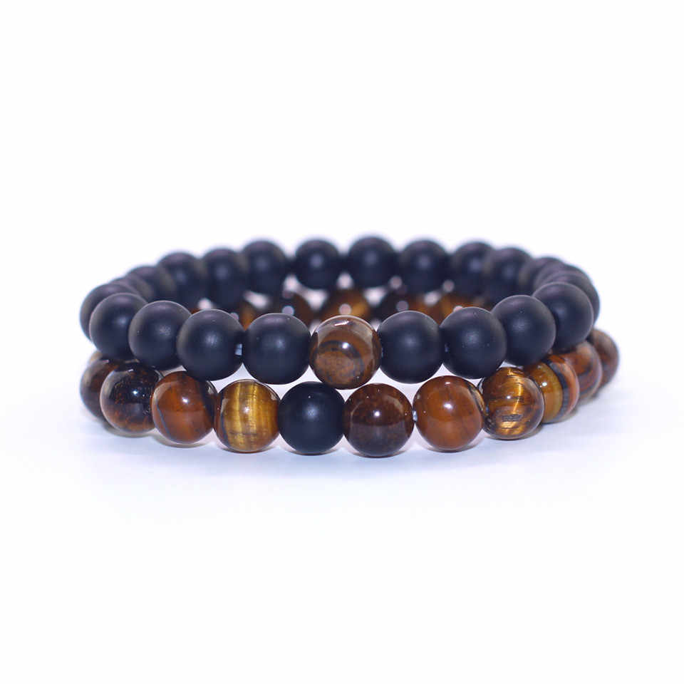 2019 Men and Women Beaded Bracelets Natural Tiger Eye Stone Matte Beads Couples Bracelet Handmade Female Fashion Bangles