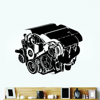 Engine Motor Wall Stickers Auto Garage Decor Vinyl Sticker Home Interior Removable Decor Retro Wall Art