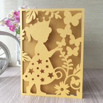 100Pcs Unique Carved Pearl paper Pretty Girl's Birthday Party Baby shower Invitation Card Decora Laser Cut Wedding Party Supply