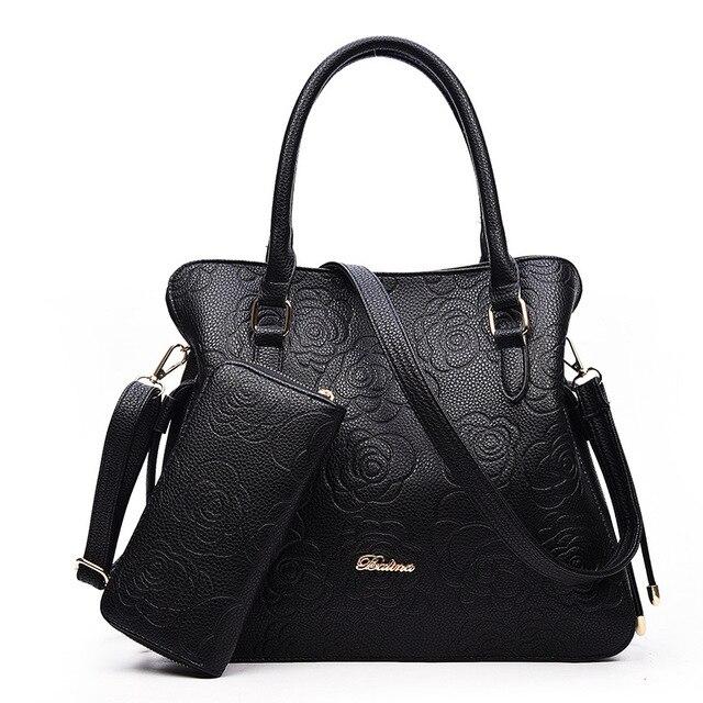 Китайский стиль женщины сумку. известный бренд дизайнер женщин сумки Мода Роза тиснением сумка сумка 2 шт./компл.