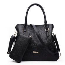 Chinese style women bag. Famous brand designer women's handbags Fashion Rose embossed shoulder bag Messenger bag 2 pieces / set